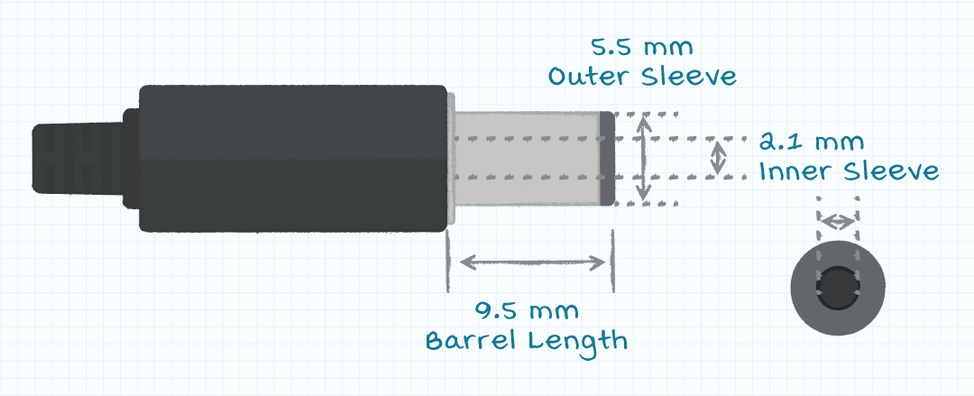 Illustration of barrel plug with dimensions